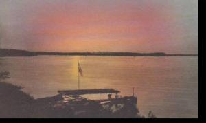 Minnesota Walker Sunset & Dock Smokey Point Lodge Big Leech Lake Handcolored ...