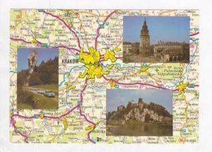 Map Postcard with three views, Krakow, Poland, 60-70s