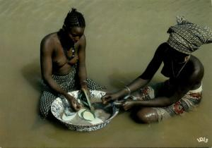 Two Nude African Women by the River, Jewelry Necklace (1970s) IRIS Postcard