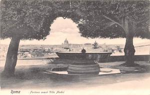 Italy Old Vintage Antique Post Card Fontana avanti Villa Medici Roma Unused