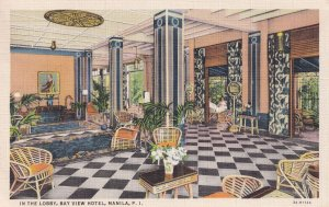 The Lobby at Bay View Hotel Manila The Philippines Old Postcard