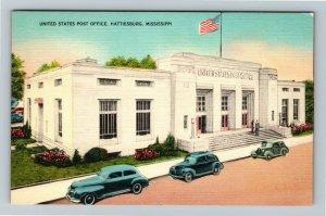 Hattiesburg MS-Mississippi, U.S. Post Office, Classic Car's, Linen Postcard