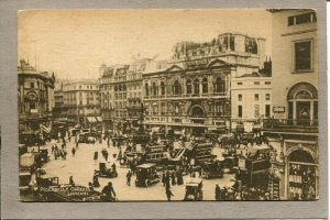 Postcard England London Tuck & Sons Piccadilly Circus Cars & Horse Buggies 1917F