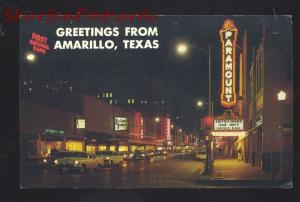AMARILLO TEXAS ROUTE 66 1950's CARS STREET SCENE AT NIGHT VINTAGE POSTCARD