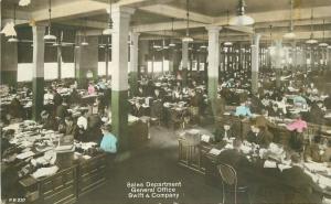 1910 Chicago Illinois Swift Company Advertising office interior  RPPC Postcard