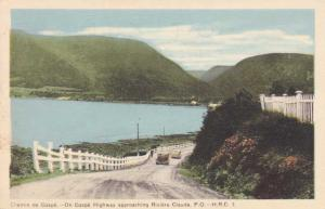 Gaspe Highway approaching - Riviere Claude QC, Quebec, Canada - pm 1955 - WB