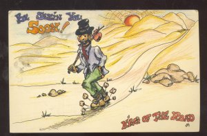 KING OF THE ROAD HOBO BUM DRIFTER VINTAGE COMIC POSTCARD