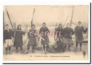 Paris Plage Old postcard fisherwomen TOP shrimp (fishing profession)
