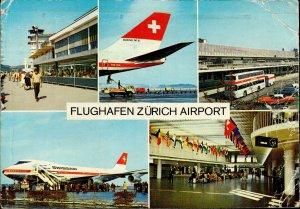 MNT00256 zurich switzerland boeing 747 b bus swissair airport plane airplane