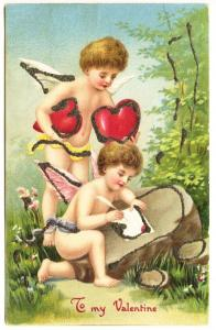 Valentine Greeting Pair of Cupids Writing Cards Postcard