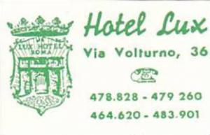 ITALY ROMA HOTEL LUX VINTAGE LUGGAGE LABEL