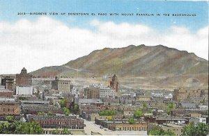 Birdseye View of Downtown El Paso Texas Mount Franklin in Background