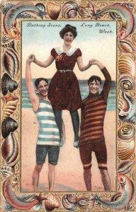 Bathing Scene LONG BEACH, WA Edwardian Bathing Suits 1911 Vintage Postcard