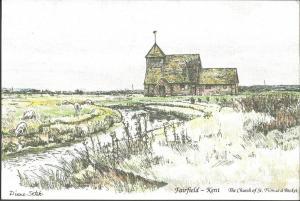 Postcard FAIRFIELD Kent St Thomas a Becket Church Watercolour Diane Setek 1979