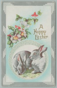 Easter~Two Gray Bunnies In Circle Window~One Stares At Snail~Flowers~Silver Trim