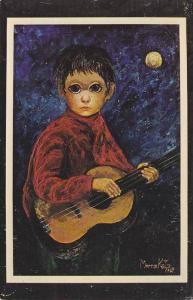 AS: Boy playing the guitar under a full moon, Morris Katz, 1964