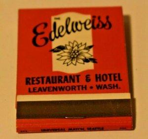 The Edelweiss Restaurant and Hotel Leavenworth Washington 20 Strike Matchbook
