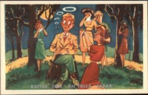 Swedish Leap Year Women Cry & Beg Man Smoking PIpe Postcard gfz