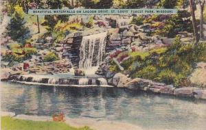 Beautiful Waterfalls On Lagoon Drive Saint Louis Forest Park Missouri 1943