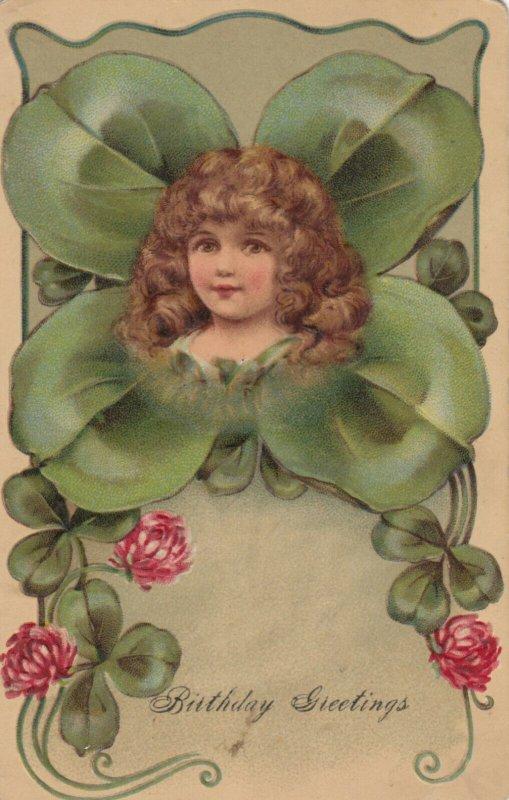 Clover / Shamrock Fantasy Girl , Birthday Greetings , 1909