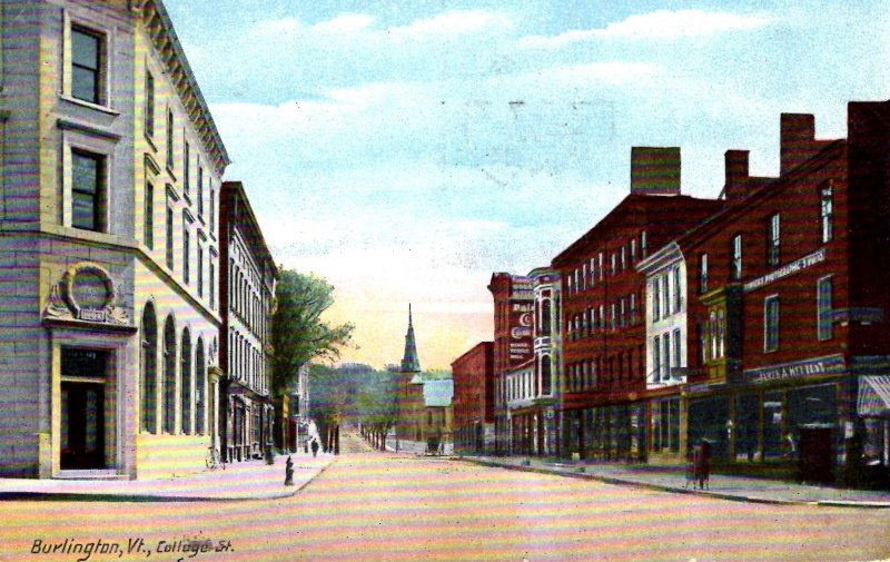 Burlington, Vermont - A view downtown on College Street - in 1909