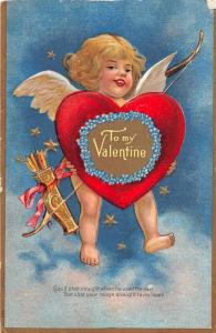 F4/ Valentine's Day Love Holiday Postcard c1910 Nash Cupid Heart Bow Arrow 9