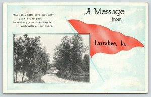 A Message from Larrabee Iowa~Gravel Road Between Trees~c1910 Pennant Postcard