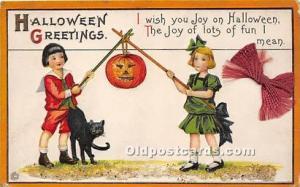 Halloween Postcard Old Vintage Post Card Black Cat, Series 63 E 1920