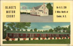 Candor SD Esso Gas Station Blake's Motor Court Linen Postcard