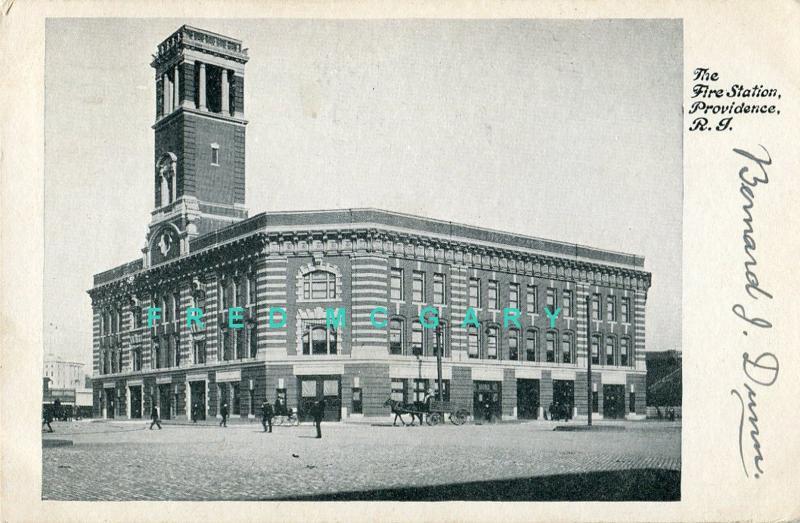 1907 Providence Rhode Island Postcard: Fire Station, Horse-Drawn Traffic