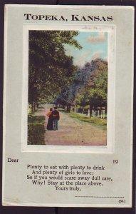 P1411 1912 used postcard topeka kanas plenty food drinks and girls to love