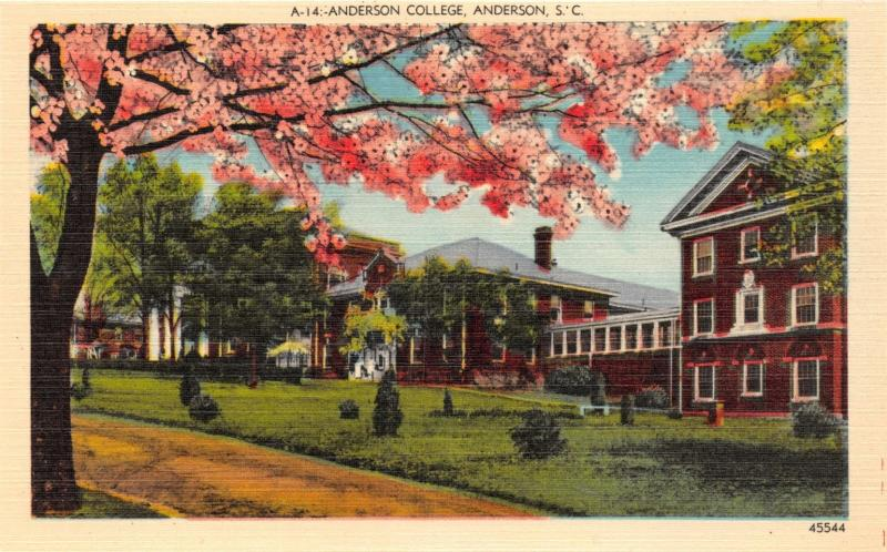 ANDERSON SC COLLEGE LOT OF 3 POSTCARDS 1940s
