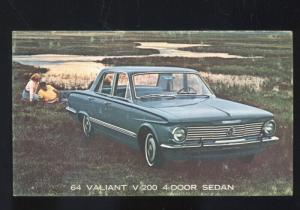 1964 PLYMOUTH VALIANT SEDAN CAR DEALER ADVERTISING POSTCARD '64 MOPAR