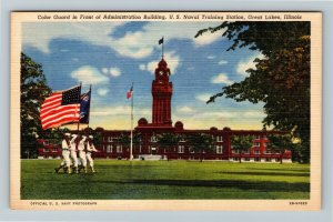 Great Lakes IL-Illinois, Color Guard at U.S. Naval Training Station, Postcard