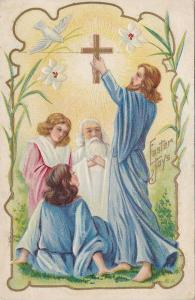 Easter Joys, Jesus holding cross and disciples, Dove with blade of grass, om ...