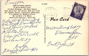 WATSEKA, Illinois  IL   Roadside  WATSEKA MOTEL  1956 Linen   Postcard
