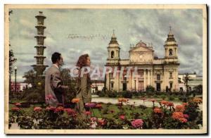 Old Postcard The Scene Of Beautiful Flowers With The Cathedral In The Backgro...