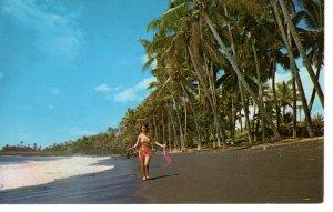US    PC3458  BLACK SAND BEACH OF KAIMU, HAWAII