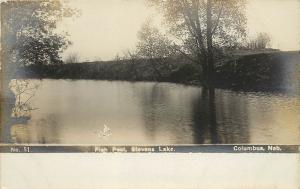 c1910 Real Photo PC; JNo.51 Fish Pool, Stevens Lake, Columbus NE Platte County