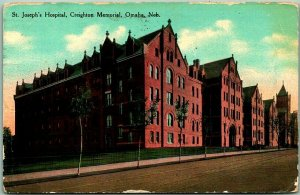 OMAHA, Nebraska Postcard St. Joseph's Hospital, Creighton Memorial 1910 Cancel