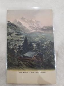 Antique Postcard, Wengen - Blick auf die Jungfrau