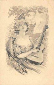 Woman Playing Guitar Fairman Co. Art Sidonie Artist-Signed 1921 Vintage Postcard