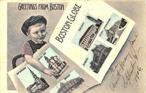 Boston MA Boston Globe Newspaper Multi-Views in 1906 Postcard