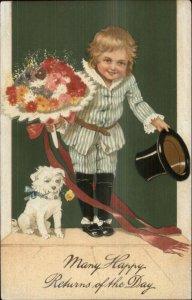 PFB Fancy Little Boy w/ His Dog Top Hat Flower Bouquet c1910 Postcard