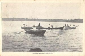 Island Pond New Hampshire Row Boat Waterfront Antique Postcard K97080
