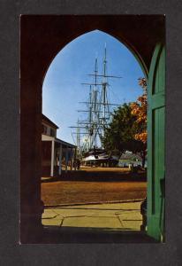 CT Mystic Connecticut Charles W Morgan Schooner Ship Fishtown Chapel Postcard