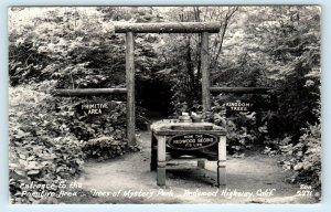 RPPC  REDWOOD HIGHWAY, CA ~ TREES of MYSTERY PARK  c1940s  Zan Postcard