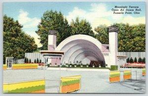 Russells Point Ohio~Moonlight Terrace Dance Hall~Band Shell~1948 Art Deco Linen