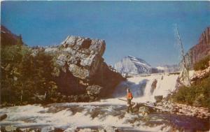 Glacier National Park Montana Swift Current Falls 1940s Postcard Western 952