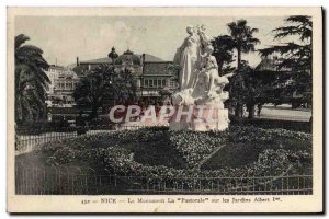 Old Postcard Nice Monument Pastoral on the Albert 1st Gardens